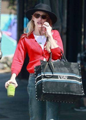 Emma Roberts in Red Sweaters - Out in Los Feliz