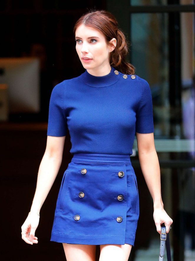 Emma Roberts in royal blue outfit out in New York