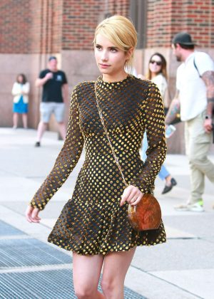 Emma Roberts in Short Dress Out in New York City