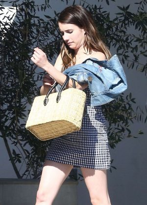 Emma Roberts in skirt out at 'Joan's on Third' in Studio City