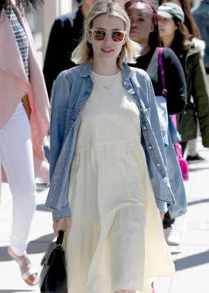 Emma Roberts in Summer Dress and Denim Jacket out in Beverly Hills