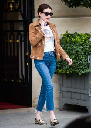 Emma Roberts in Tight Jeans - Leaves Ritz hotel in Paris