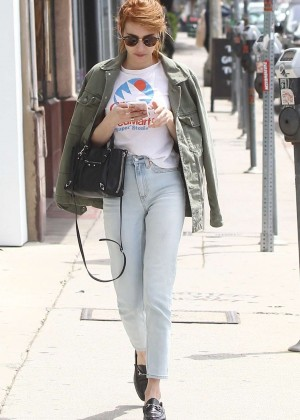 Emma Roberts in White Jeans out in Beverly Hills