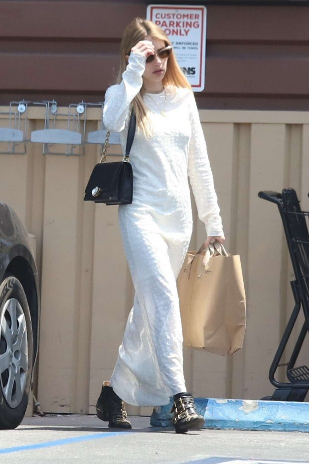 Emma Roberts in White Long Dress -02
