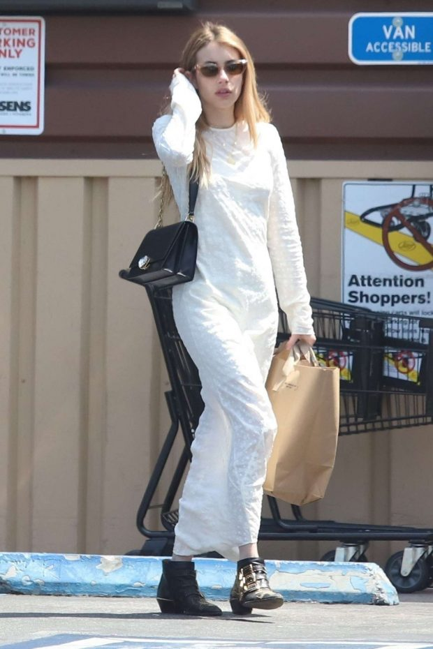 Emma Roberts in White Long Dress - Shopping in Los Angeles
