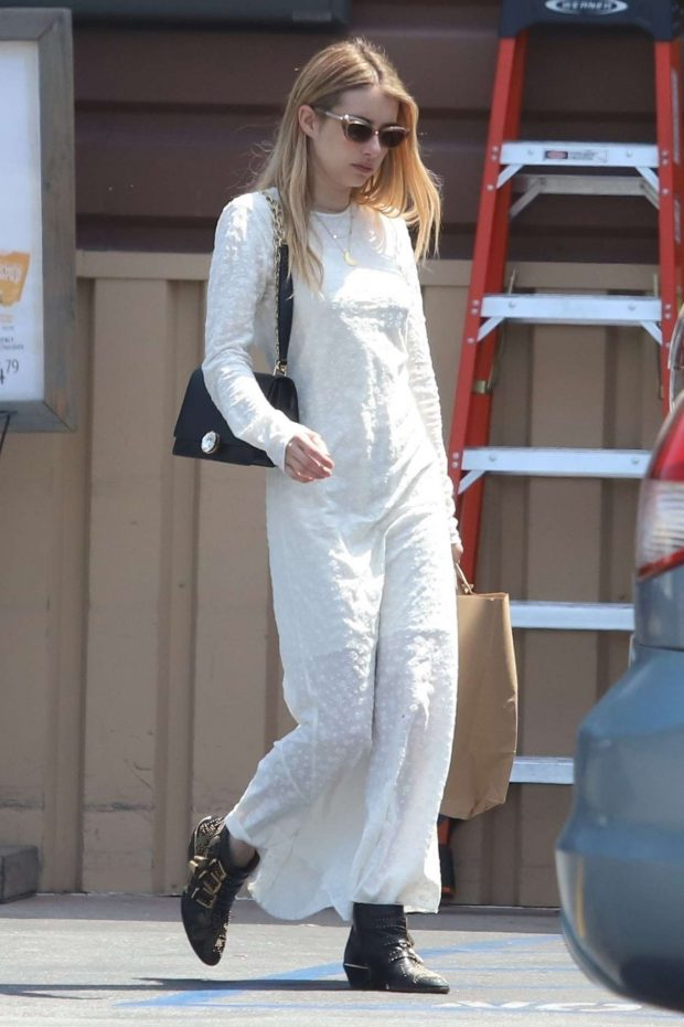 Emma Roberts in White Long Dress -10