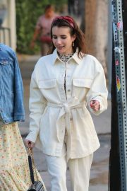 Emma Roberts in White Suit with a friend out in Los Feliz