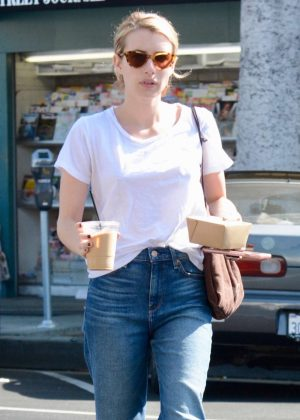 Emma Roberts in White T-shirt - Out in Los Angeles