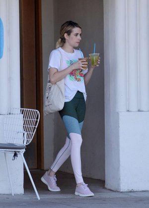 Emma Roberts - Leaves Blue Bottle Coffee in Los Angeles