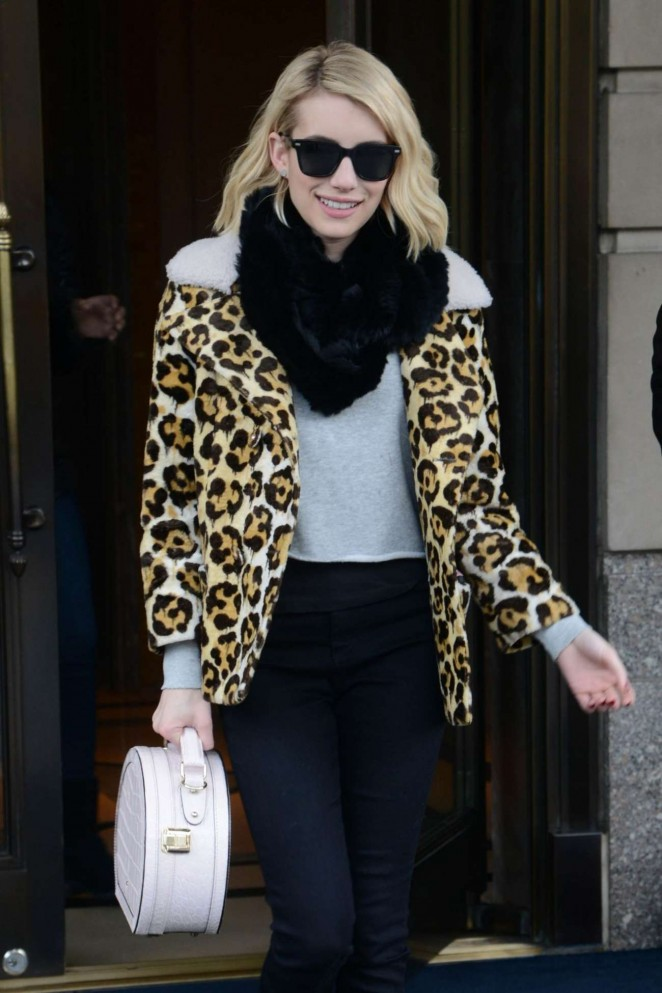 Emma Roberts - Leaves Ritz-Carlton in New York