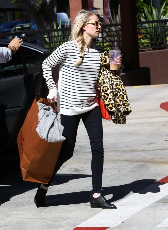 Emma Roberts in Leggings Leaving her home in LA