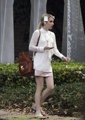 "Emma Roberts - Filming ""Scream Queens"" in New Orleans"