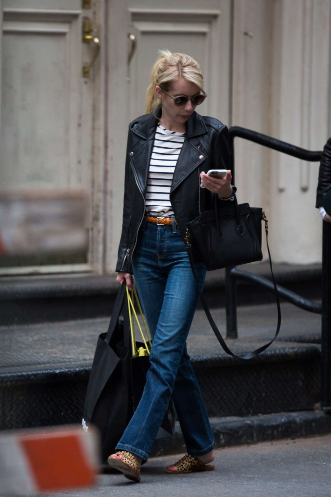 Emma Roberts in Jeans Out in Soho