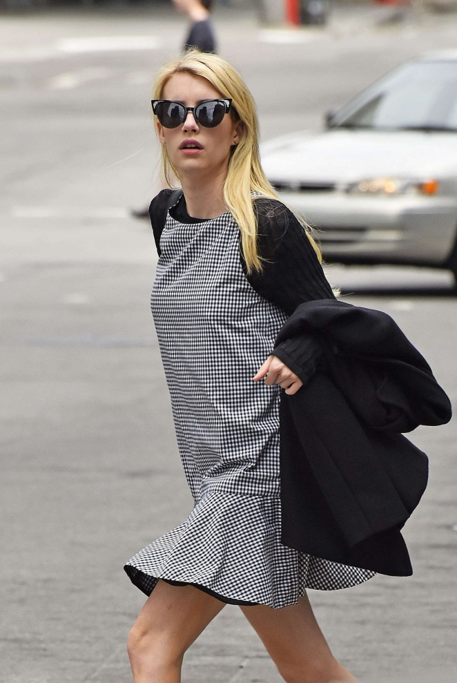 Emma Roberts in Mini Dress Out in Tribeca