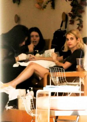 Emma Roberts - Seen getting a pedicure in LA