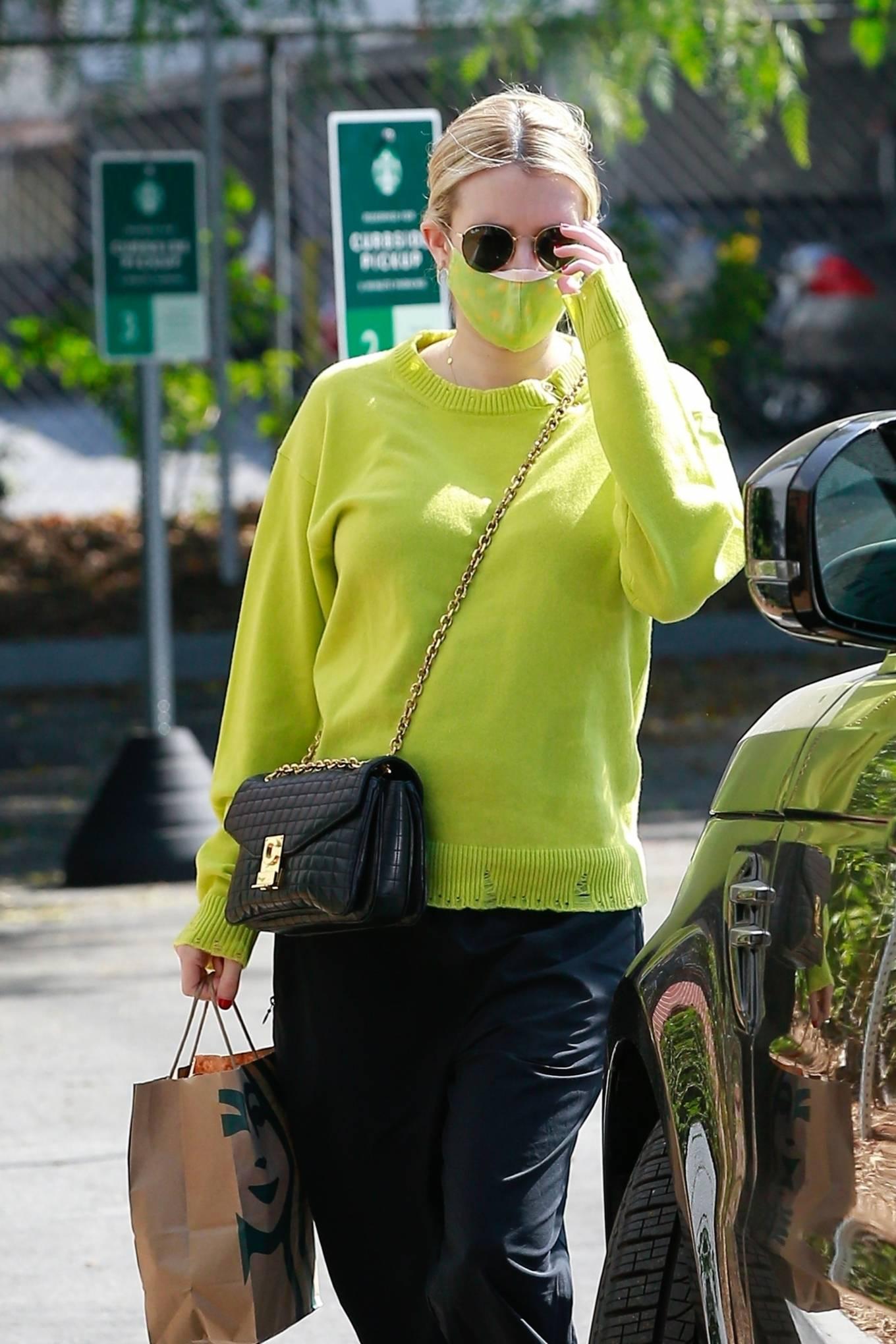 Emma Roberts - seen on a Starbucks run in Los Feliz