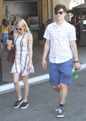Emma Roberts in Mini Dress Shopping in LA