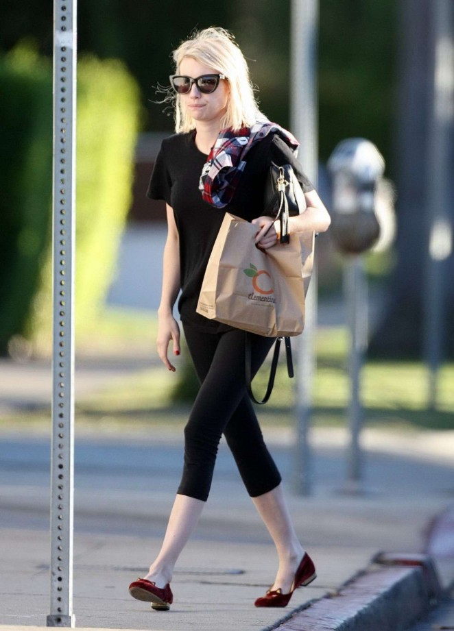 Emma Roberts in Spandex Shopping in West Hollywood