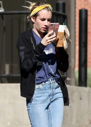 Emma Roberts stops by Starbucks in Los Feliz