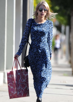 Emma Roberts in Blue Dress Out in West Hollywood