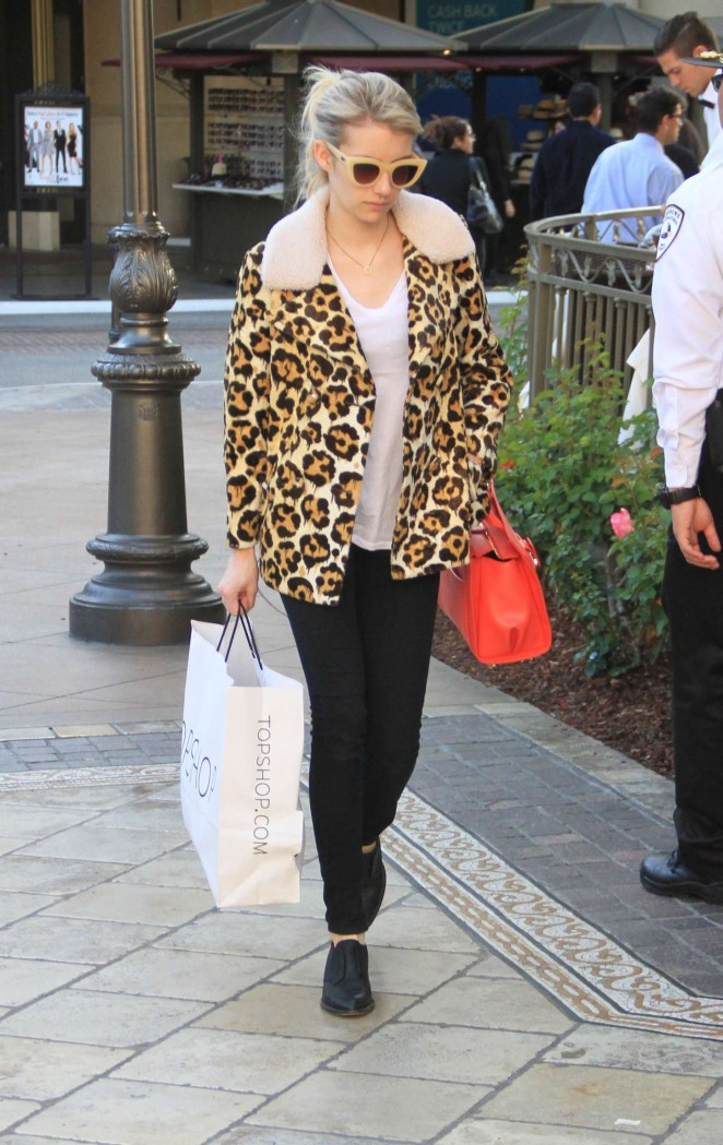 Emma Roberts in Leopard Print Coat at The Grove in West Hollywood