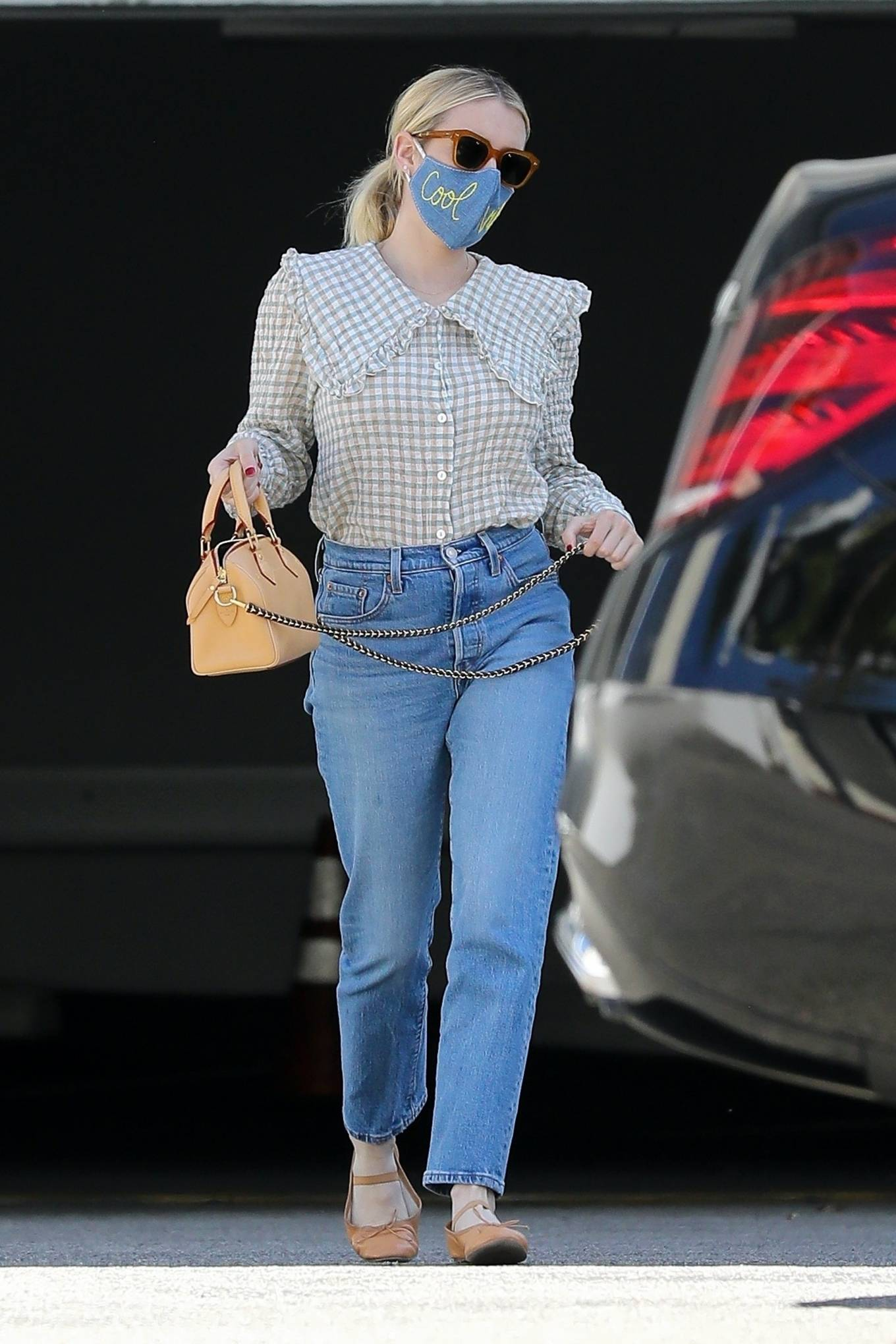 Emma Roberts 2021 : Emma Roberts – Wearing a mask reading Cool Vibes in West Hollywood-02