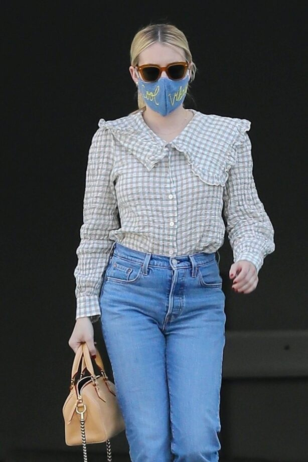 Emma Roberts - Wearing a mask reading 'Cool Vibes' in West Hollywood