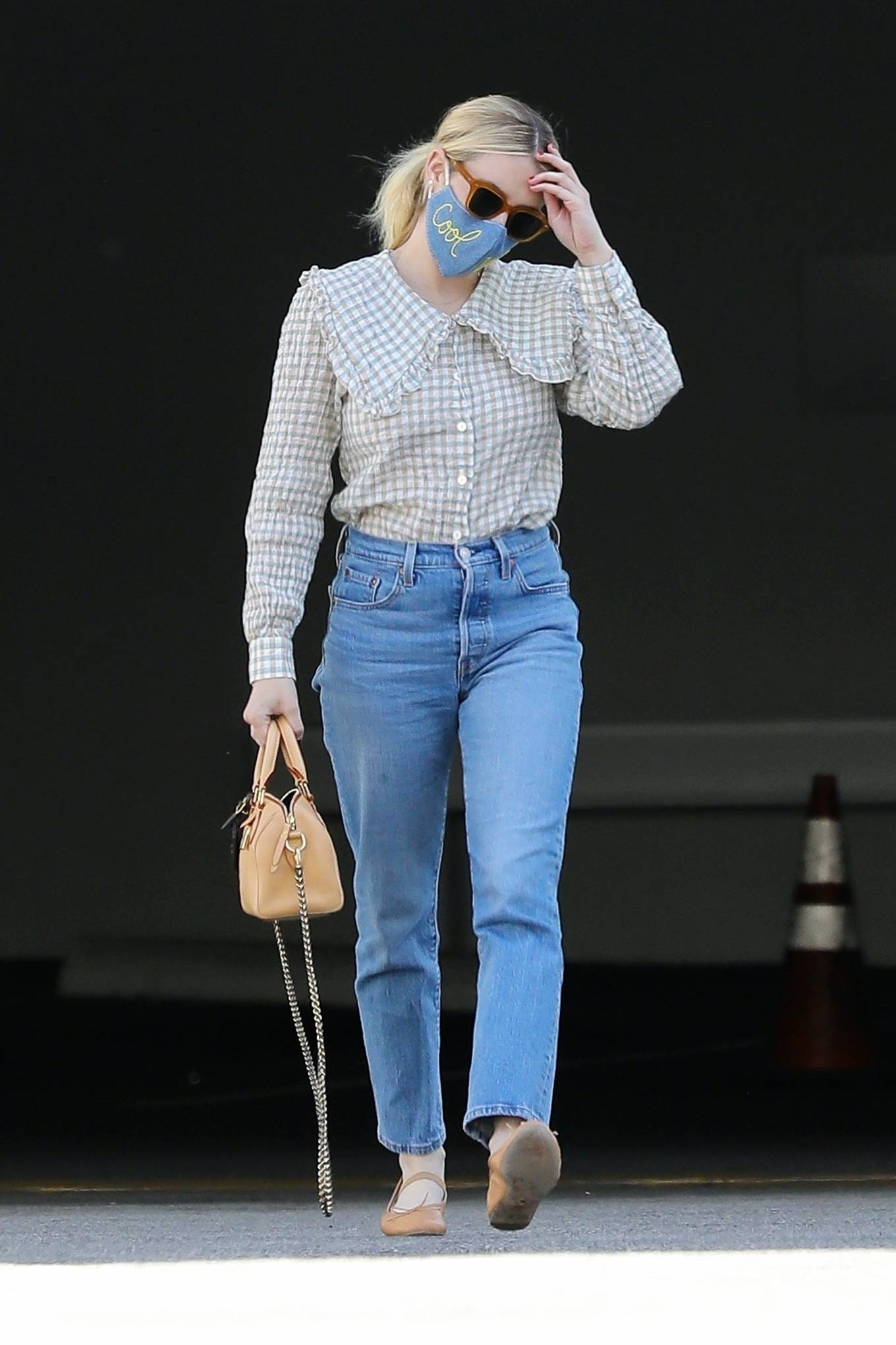 Emma Roberts 2021 : Emma Roberts – Wearing a mask reading Cool Vibes in West Hollywood-10