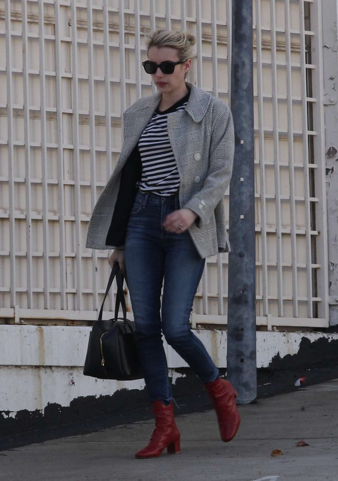 Emma Roberts - Wearing Red Shoes and Jeans out in Beverly Hills
