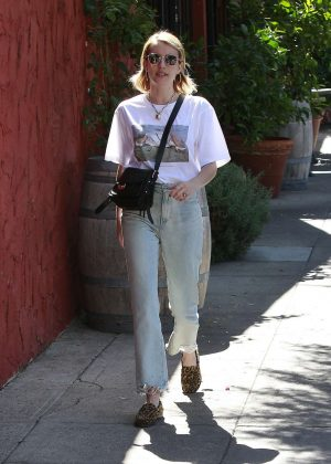 Emma Roberts - Wearing T-shirt and jeans out in Los Angeles