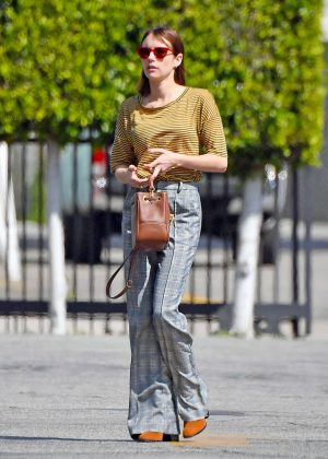 Emma Roberts - Wears a striped top and plaid trousers - Out in Hollywood