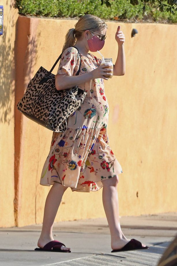 Emma Roberts - With a mask while out in Los Angeles