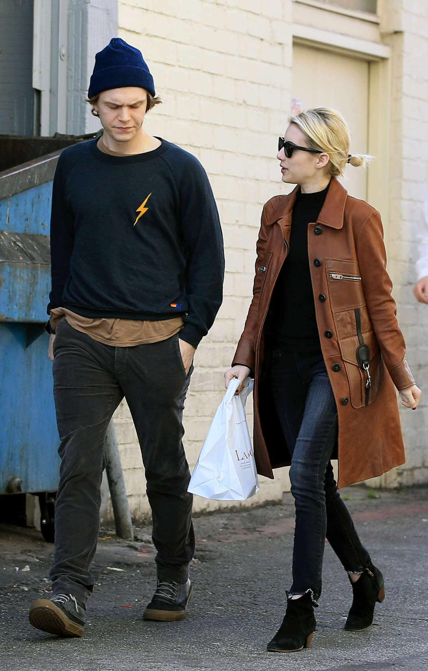 Emma Roberts With Evan Peters at Porto Villa in Beverly Hills