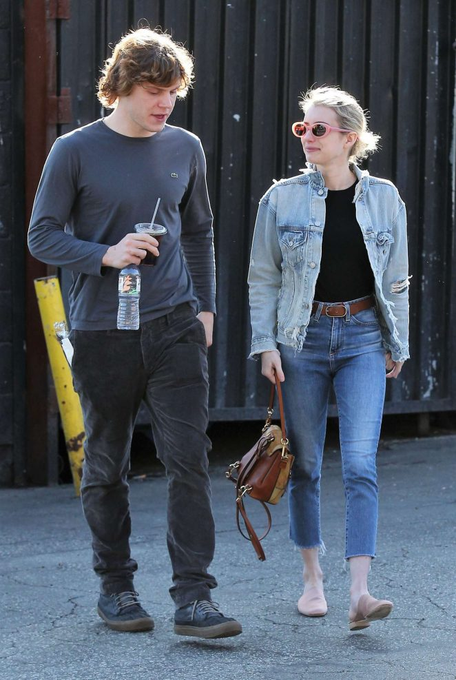 Emma Roberts With Evan Peters Out for lunch in Los Feliz