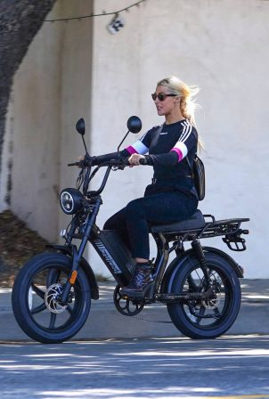 Emma Slater - Electric Moped ride in Studio City