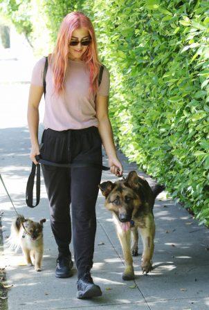 Emma Slater - Walking her dogs in Los Angeles