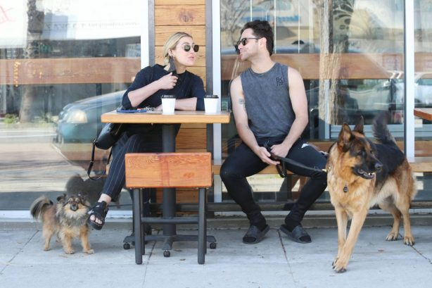 Emma Slater - With her husband Sasha Farber having coffee at Joint in Los Angeles