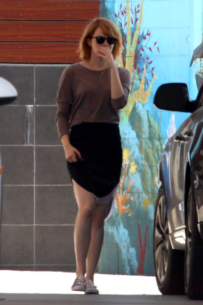 Emma Stone in Skirt at a Gas Station in Malibu
