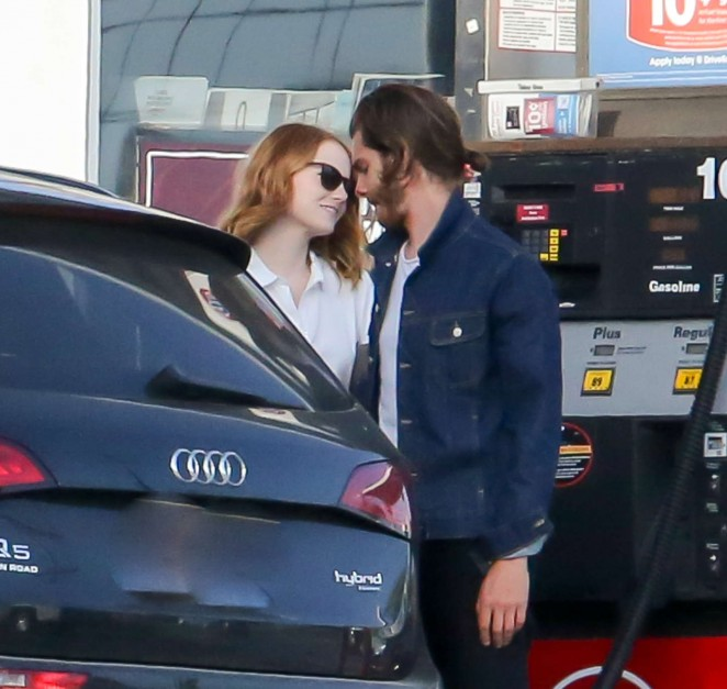 Emma Stone at a gas station in Santa Monica