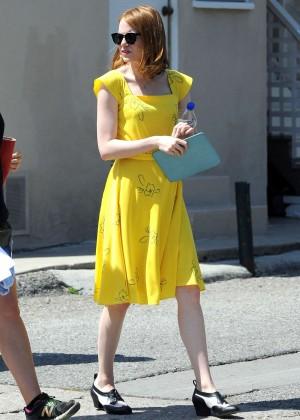 Emma Stone in Yellow Dress on La La Land set in LA