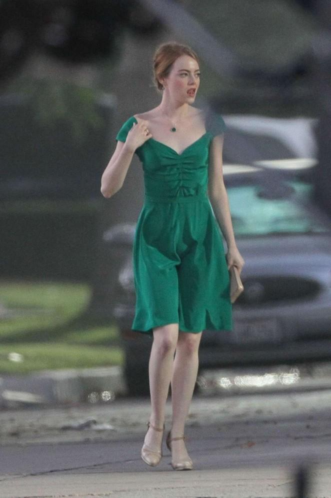 Emma Stone - Filming 'La La Land' in Los Angeles