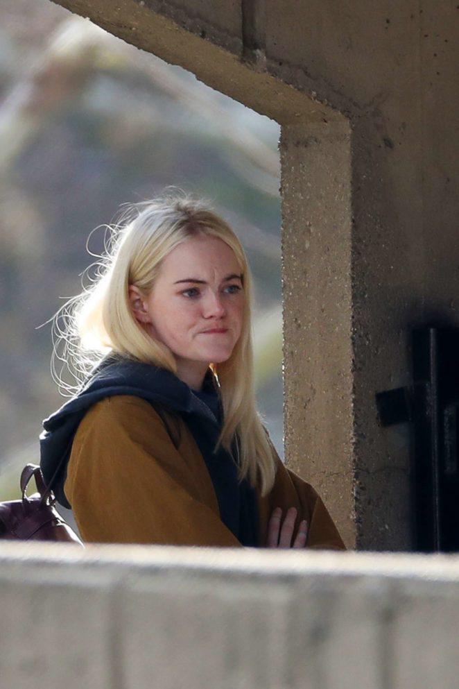 Emma Stone - Filming 'Maniac' set in NYC