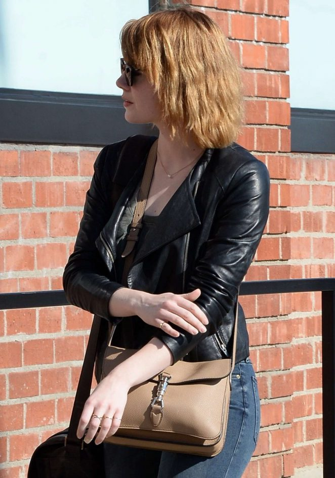 Emma Stone in Jeans and Leather Jacket out in Beverly Hills