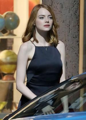 Emma Stone - On the set of 'La La Land' in Hollywood