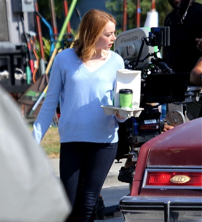 Emma Stone on the set of 'La La Land' in Los Angeles