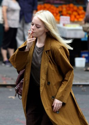 Emma Stone on the set of 'Maniac' in NYC