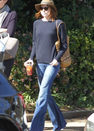 Emma Stone in Jeans and Hat out in LA
