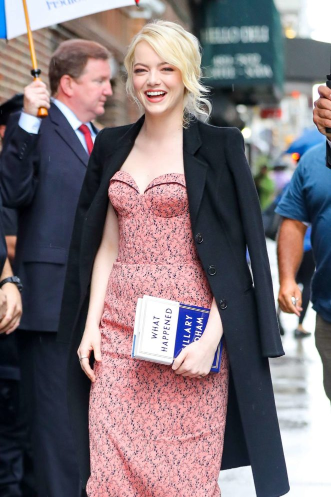 Emma Stone - Seen outside The Late Show With Stephen Colbert in NYC
