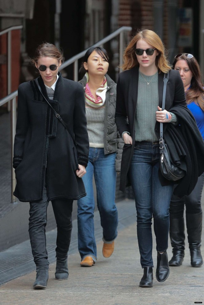 Emma Stone with Rooney Mara out in NY