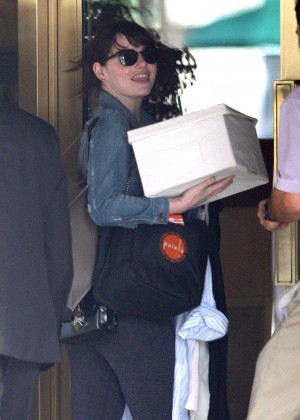 Emma Stonein Tights at her Hotel in West Hollywood